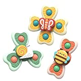 Dear Deer Suction Cup Spinning Top Toy Baby Bath Toy 3PCS Suction Cup Baby Toys Water Play Windmill Cartoon Animal Sucker Toy for Kids