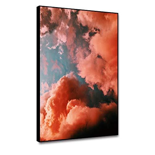 RTCKF Wandkunst Leinwand Abstrakte Malerei und Kalligraphie Bunte Wolkenplakate Wohnzimmerdekoration Ornamente drucken auf Leinwand Art Deco Druck A2 40x50cm