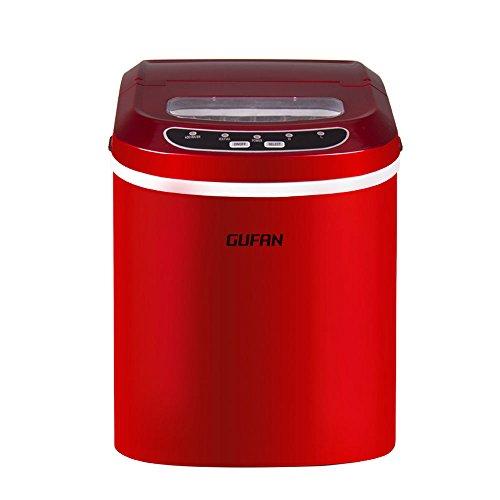 GUFAN Eiswürfelmaschine - Neue Tragbare Eismaschine für Haushalt / Büro - 15kg Eis in 24 Stunden - 2 Eiswürfelgrößen wählbar (Rot)