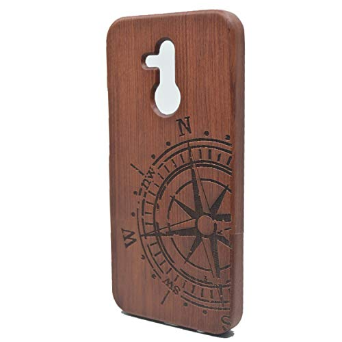 Phantom Sky Stylisch Holzschatulle Kompatibel für Huawei Mate 20 Lite, Premium Qualität Natürliche Handgemachte Stoßfestes Handyhülle Holzabdeckung Holz Schutzhülle Cover - Rosenholz Kompass