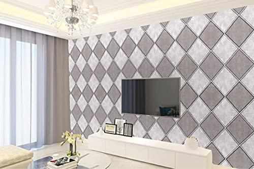 Papel Pintado No Tejido Azulejos De Mármol De Imitación Simple Moderna 3D Decoración de Pared para el Hogar Dormitorio Sala de Estar Hotel TV Telón de Fondo 0.53 m x 9.5 m (Gris)