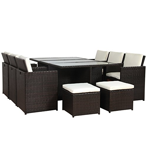 SVITA Poly Rattan Lounge Gartenset Braun Garnitur Polyrattan Aluminium-Rahmen kein Bausatz (Braun)