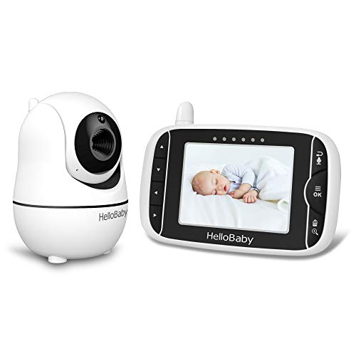 HelloBaby Video Babyphone mit Kamera [HB66] mit VOX-Modus-Fernkamera Pan-Tilt-Zoom 3,2 Zoll Farb-LCD-Bildschirm Infrarot-Nachtsicht-Temperaturüberwachung Wiegenlied 2-Wege-Audio (Schwarz)