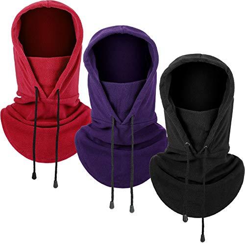 3 Pieces Balaclava Face Scarf Winter Windproof Hat Fleece Ski Face Covering Warm Outdoor Sport Headwear Scarf for Men Women (Wine Red, Purple, Black)