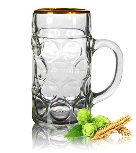 PorcelainSite Geschenkideen GmbH ISAR Maßkrug 1l mit Goldrand - Maßkrug Oktoberfest, Bierglas - hochwertige und stabile Qualität (4)