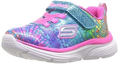 Skechers Kids Girls' Wavy Lites Sneaker, Multi, 13 Medium US Little Kid