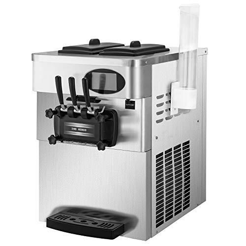 VEVOR Máquina de Helados Suave Comercial 2200W 20-28L / 5.3-7.4 Galón/H Servidor de Helados Suave con Panel LCD de Limpieza Automática para Restaurantes 3 Sabores para Restaurantes Supermercados