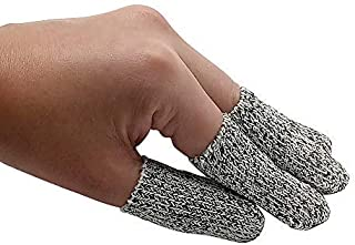 EvridWear Finger Cots Cut Resistant Protection, Glove Life Extender, Finger Sleeves, Substitute for A Full Glove, Thumb Protector, HPPE Rated (20PCS) 2 Sizes (Short Length)