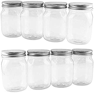 Cornucopia 16-Ounce Clear Plastic Mason Jars (8-Pack, Silver Metal Lids); PET BPA-Free Mason Jars with One Piece Lids, 2-Cup/Pint Capacity, Compatible with Regular Mouth Mason Jar Lids