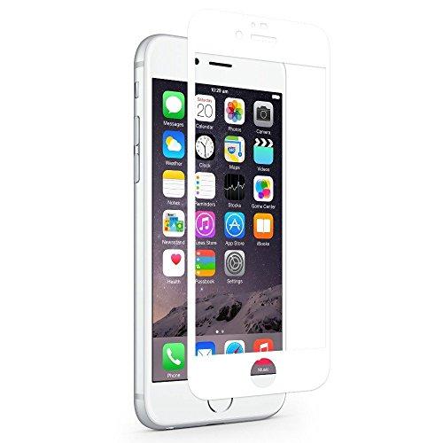 "ISKIP Protector de pantalla para iPhone 6 6s, Protector de pantalla de cristal templado 3D Curva de cobertura total 9H Dureza Película protectora [Soft Edge] para iPhone 6 6s 4.7""(Blanco)"