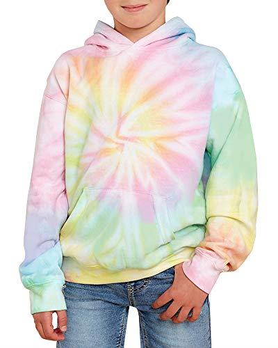 GAMISOTE Unisex Kids Tie Dye Sweatshirt Boys Girls Hooded Kangaroo Pocket Pullover Hoodies (Blue-green, 11_years)