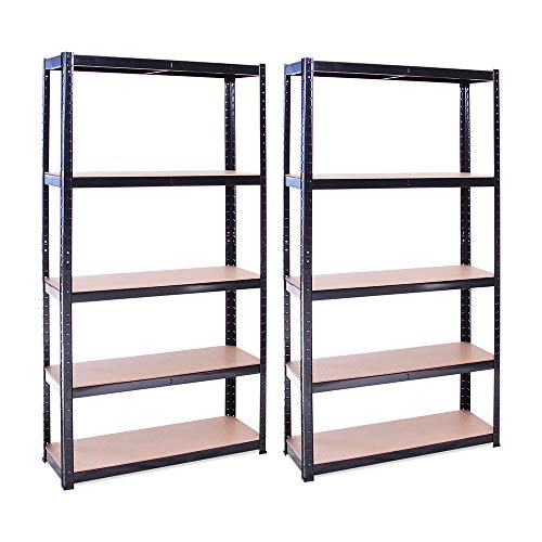 Garage Shelving Units: 180cm x 90cm x 30cm | Heavy Duty Racking Shelves for Storage - 2 Bay, Black 5 Tier (175KG Per Shelf), 875KG Capacity | For Workshop, Shed, Office | 5 Year Warranty