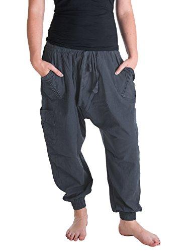 Vishes – Alternative Bekleidung – Sommer Haremshose mit Taschen aus Baumwolle mit elastischem Bund – handgewebt grau Einheitsgröße 38 bis 44