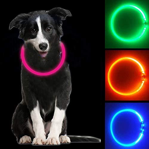 Collare Luminoso per Cani, USB Recargable Collars Luminosos para Perro, Ajustable Recargable Impermeable LED Collar, 3 Modos de LED Perro Collar (Rosado)