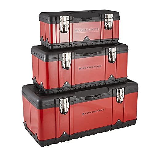 Trueshopping Caja de Herramientas 3 en 1: 3 Resistentes Cajas de Herramientas con Pestillos Metálicos Fuertes y Mango de Agarre Seguro - Equipadas con Bandeja Interior Extraíble