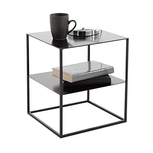 Table XIAOYAN de Bout de Cadre de Fer Nordique 2 Meuble de Rangement de de Chevet Chambre à Coucher en Verre/Dessus en Fer (Couleur: Noir 40 × 40 × 45 cm (Couleur : Black-Iron Top)