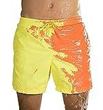 Costume da Bagno Uomo Cambia Colore Pantaloncini Mare Uomo Costumi da Bagno Short Mare Costume a Pantaloncino Uomo Pantaloncini Spiaggia Surf Piscina Uomo Beach Shorts Mare Men Taglie Forti Giallo M