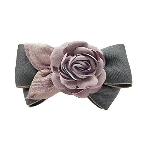 Accessoires pour épingles à cheveux Tissu à main Barrettes Rose Hair Barrette Grey Bowknot