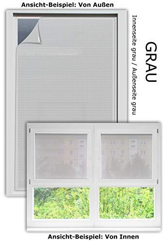 EFIXS Sonnenschutz für Außen ohne Bohren - Farbe: grau - Breite bis 100 cm, Höhe bis 120cm - Montage: Selbstklebender Druckverschluss - SCHEIBENFIXS auf Maß