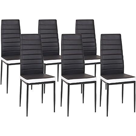 IDMarket - Lot de 6 chaises Romane Noires Bandeau Blanc pour Salle à Manger