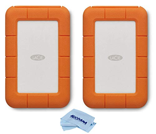 LaCie 2 Pack Rugged Thunderbolt USB-C 5TB External Hard Drive Portable HDD for Mac and PC, Microfiber Cloth