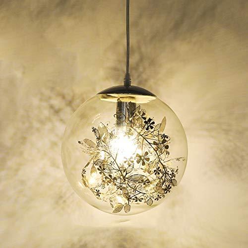 De enige goede kwaliteit Indoor Sferische Glas Kroonluchters, RVS Gesneden Bloemen, Decoratieve Lampen Geschikt voor Eetkamer/Slaapkamer Nachtkast/Bar Counter/Balkon/Veranda