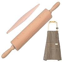 木製フレンチローリングピンセット ベーキング用 - ピザ フォンダン パイの皮 クッキー ペストリー 生地用木製ロールピン 2個