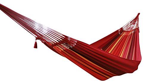 MacaMex Ma de 01121 Hamac, Vida Del Sol Especial – Original Tissage Bresilien Famille Hamac XL, 400 x 180 x 150 cm, macramerand/Rouge