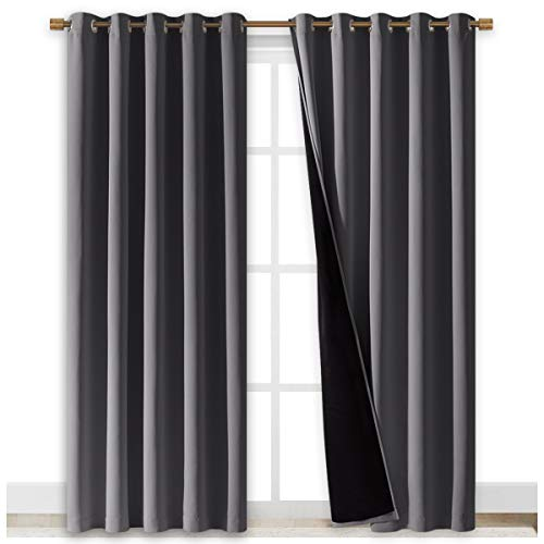 NICETOWN Total Shade Curtains and Draperies, Heavy-Duty Full Light Shading Drapes with Black Liner Backing for Villa/Hall/Dorm Window(Gray, Package of 2 Panels, 70 inches Wide x 95 inches Long