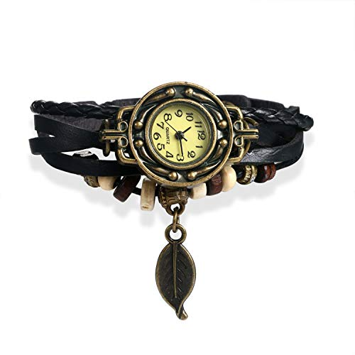 Women's Watch Vintage Multi Layers Weave Black Leather Wrap Bracelet Quartz Dress Wrist Watch for Christmas