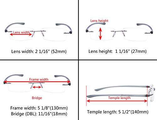 7-Pack Rimless Reading Glasses with Small Lenes Fashion Men Women Readers