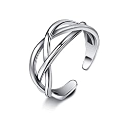 Adjustable Ring's Material: 925 sterling silver, S925 stamped. About Ring Size: Sterling silver ring can be bent by hand and adjusted at will to fit your size. Jewellery Package: Wrapped by delicate jewellery box, nice choice as gift for her. Unique ...