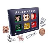SHUYUE Large Metal Wire Puzzles Magic Metal Brain Teaser Puzzle Set Disentanglement Puzzles 3D Wooden Brain Teaser Puzzles Toys Classic Educational Intelligence Toy for Adults and Child