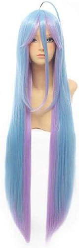QZQWANAY ZWeiß  lange gerade blaue Mischung lila synthetische Kostüm Cosplay Perücke