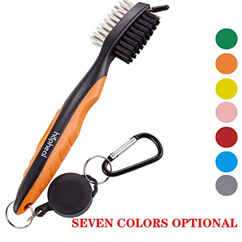 Golf Brush2 Ft Retractable ZiplineEasily Attaches to Golf Bag6 Golf Bamboo Tees  2 Golf Divot Tools 2 Golf Ball MarkersGreat Golf Gift Some Must Have Kit Accessories for Golf Playing Orange