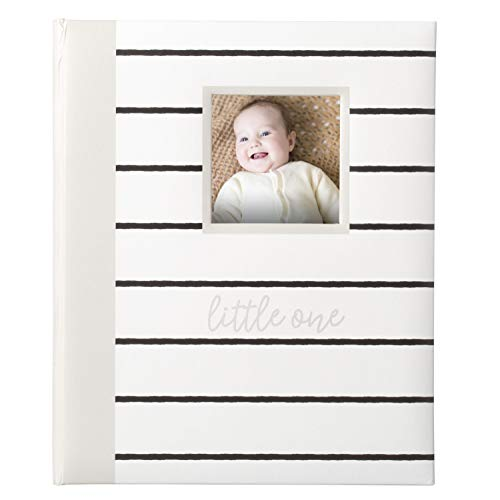 Kate and Milo Modern Milestone Baby Memory Book, A Perfect Baby Shower Gift for Expecting Parents, Gray Stripes