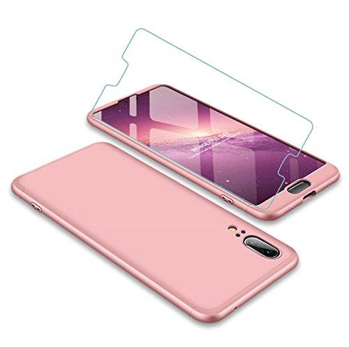 Joytag Funda Huawei P20 360 Grados Oro Rosa Ultra Delgado Todo Incluido Caja del teléfono de la protección 3 en 1 PC Case + Protectora de película de Vidrio Templado Oro Rosa