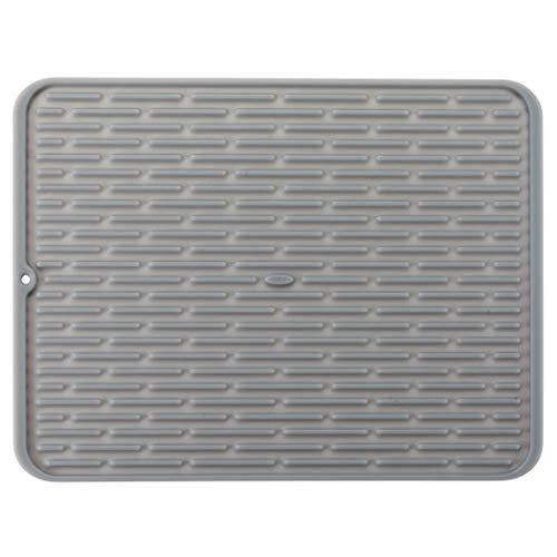 OXO Good Grips Escurridor de platos para fregadero de silicona, tamaño grande, embalaje compacto
