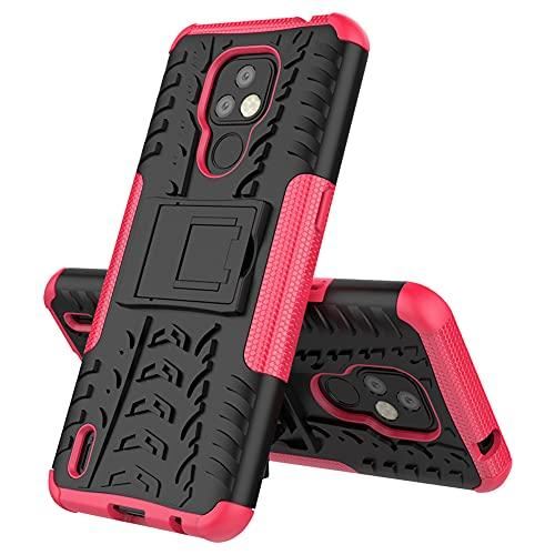 GARITANE Funda Compatible con Motorola Moto E7,Híbrida Rugged Armor Case Back Cover Choque Bumper Carcasa con Kickstand (Rosa Caliente)