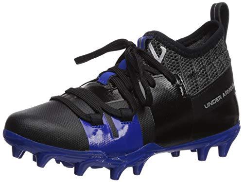 Under Armour Boy's C1N MC Jr. Football Shoe, Black (003)/Team Royal, 4.5 M US Big Kid