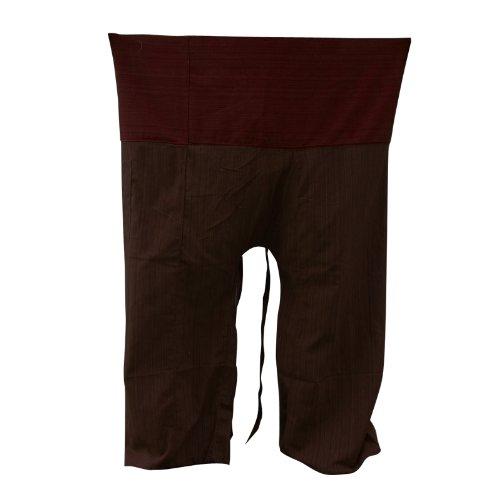 kittiya 2 TONE Thai Fisherman Pants Yoga Trousers FREE SIZE Plus Size Cotton brown and Burgundy