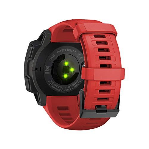 WIIKAI Bracelet Compatible avec Garmin Instinct 22mm Réglables Replacement Band pour for Garmin Instinct 22mm Wristband Bracelet de Montres(Flamme Rouge)