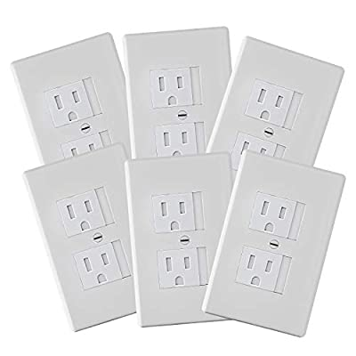 6-Pack Safety Innovations Self-closing (1Screw) Standard Outlet Covers - An Alternative To Wall Socket Plugs for Child Proofing Outlets (White) by Safety Innovations