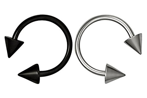 Forbidden Body Jewelry Set of 2 Rings: 16g 3/8' Black Titanium IP Plated and Surgical Steel Spiked Horseshoe Rings