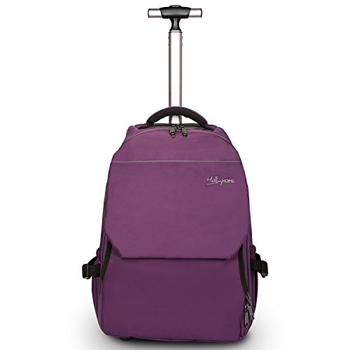 19 inches Large Storage Multifunction Travel Laptop Wheeled Rolling Backpack by HollyHOME, Purple
