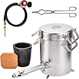 Propane Melting Furnace Kit 304 Stainless Steel Body with 6 KG Graphite Crucible...