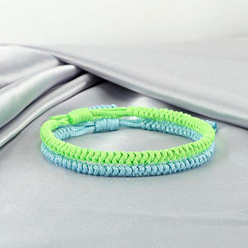 Jewellery Bracelets Bangle For Womens 2Pcs Multicolor Buddhist Bracelets Good Lucky Charm Braided Bracelet & Bangle For Women Men Handmade Knots Rope Jewelry-Lt_Green_Lt_Blue_China