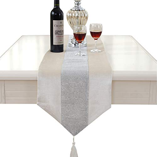 Western Modern White Table Runners Tapestry Middle Diamond 72 inch Approx for Wedding and Party