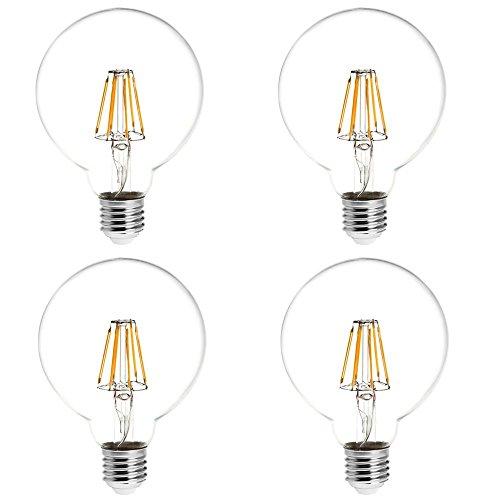 HERO-LED G30-DS-6W-WW27 Dimmable G30 E26/E27 6W Edison Style LED Vintage Antique Filament Bulb, 60W Equivalent, Warm White 2700K, 4-Pack