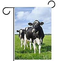 ガーデンフラグウェルカムバナーフラグヤードガーデン屋外装飾オールシーズンの垂直両面アートフラグ牛オランダの牧草地の空の雲
